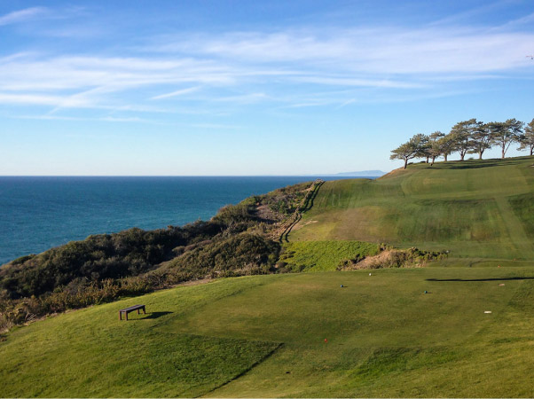 Golf course overlooking the ocean