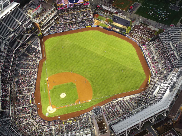 Drone view over baseball park